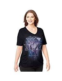 Just My Size Women`s Plus-Size Short-Sleeve V-Neck Graphic T-Shirt with Side Shirring