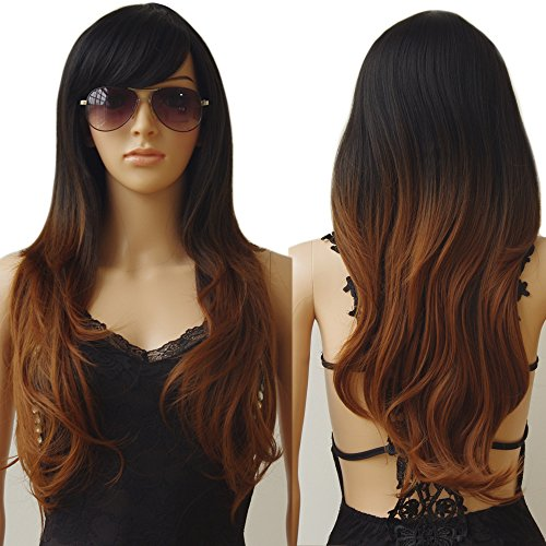 Dress Party Hair Wigs - S-noilite 28inch Long Pastel Ombre Hair Wig Natural Wavy Curly Cosplay Anime Party Dress Heat Resistant Synthetic Wig with Bangs for Women Ladies