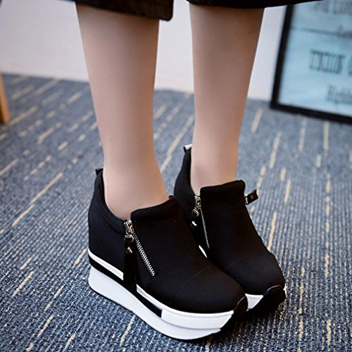 Boots Shoes Shoes Casual Ankle Fashion On Slip Wedges Boots Platform Women Black UvO0Oq