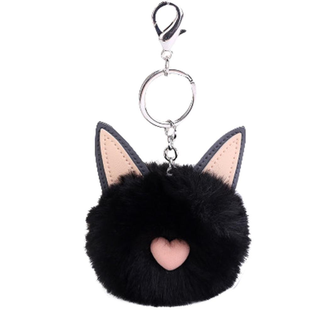 AMA(TM) 8CM Cute Cat Ears Keychain Pendant Women Pompoms Key Chains (Black)