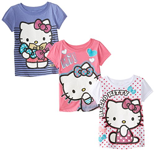 Hello Kitty Little Girls' Value Pack T-Shirt Shirts, Purple/Pink/White,
