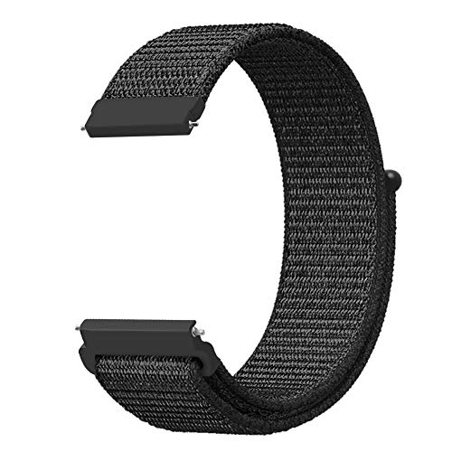 Fintie Band Compatible with Galaxy Watch 46mm / Gear S3 Frontier Classic Smartwatch, 22mm Lightweight Breathable Nylon Replacement Sport Loop Wrist Strap for Men Women - Black [Small]