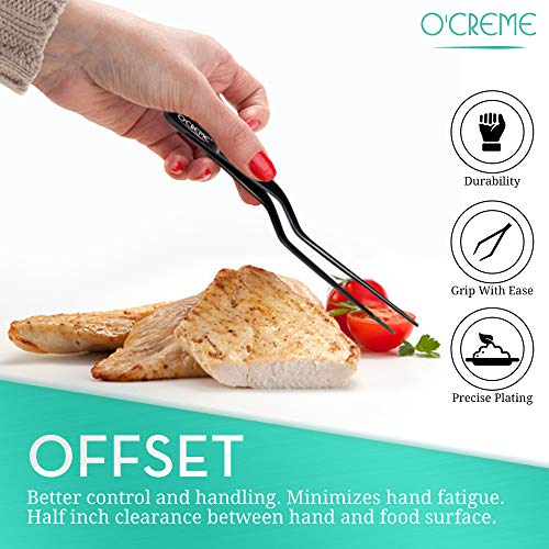 O'Creme 8 Inch Multicolored Stainless Steel Precision Kitchen Culinary Offset Tweezer Tongs