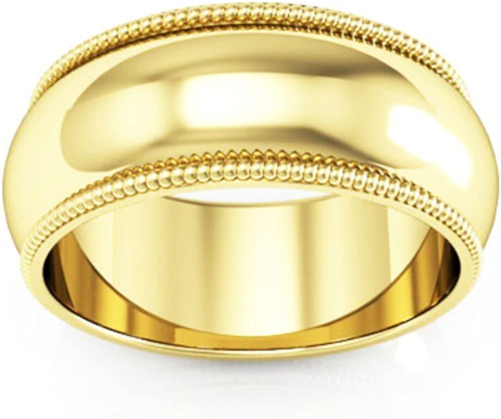 10K Yellow Gold mens and womens plain wedding bands 8mm Milgrain