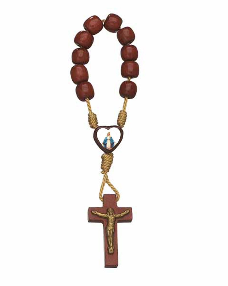 Catholica Shop Our Lady of Grace Wood Mini Finger Rosary Made in Brazil | Lot of 12