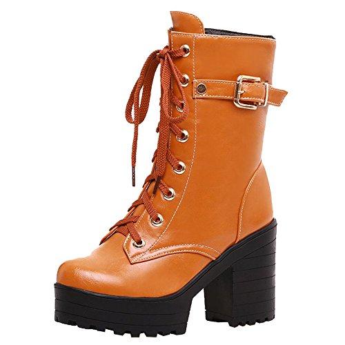 Carolbar Women's Western Concise Platform High Heel Buckle Riding Boots Brown ZKCU7yM9r