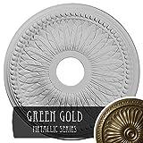 Ekena Millwork CM18BIGGS Bailey Ceiling Medallion, Green Gold