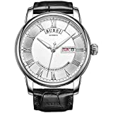 BUREI Men's Automatic Wrist Watches with White Dial Black Leather Strap