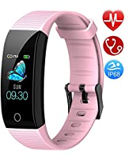 Semaco Fitness Trackers Watch, Activity Tracker with Heart Rate Monitor Waterproof IP68, Sleep Monitor, Calorie Step Counter, Pedometer Watch with Connected GPS for Kids Women Men (Pink)