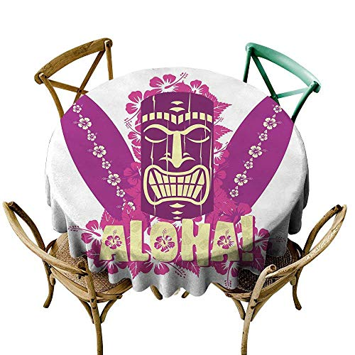 red tablecloth 50 inch Tiki Bar Decor,Tiki Culture Figure Surfboards Hibiscus Hand Drawn Aloha,Hot Pink Purple Light Yellow Dust-Proof Table Cover for Kitchen Dinning Tabletop Decoration ()