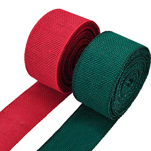 Christmas Wired Ribbon (eBoot 2 Rolls Burlap Wired Ribbon Natural Weave Ribbon with Wired Edge for Christmas Crafts Decoration (Red and Green, 2.4 Inches by 315)