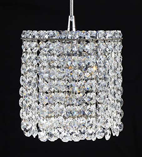 6 Wide Mini Crystal Pendant Light for Kitchen Island, Stainless Crystal Hanging Lights for Bedsides Foyer, Geometric Refrax Matrix Style Cylinder Crystal Chandelier for Living Dining Room,Luenfat