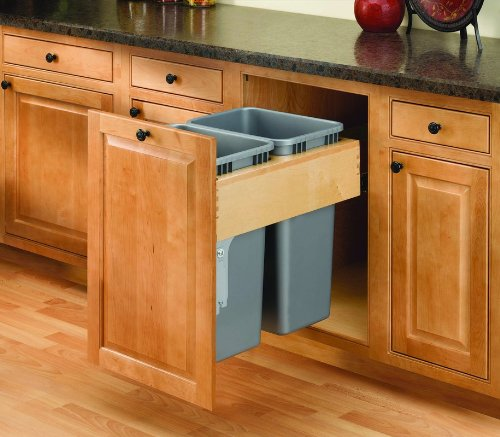 Rev-A-Shelf Dbl 50 QT Top Mount Waste Container, Natural