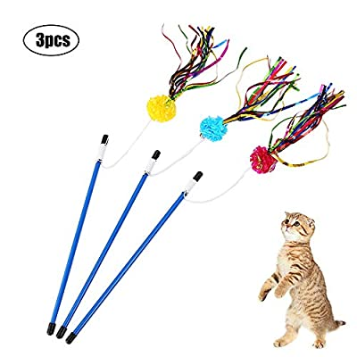 Cat toys wand Cat Teaser Wand Interactive Cat Toys Cat Wands with Sound Paper... [tag]