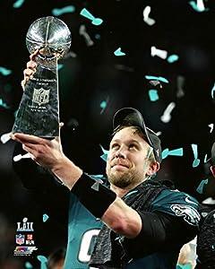 Philadelphia Eagles Super Bowl 52 MVP Nick Foles Holds The Super Bowl Trophy. 8x10 Photo, Picture