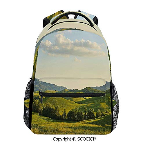 SCOCICI Cool Printed Bookbag Tuscany Hills Italy Meadow,Adults School Bag