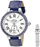 GV2 by Gevril Astor Enamel Womens Diamond Swiss Quartz Blue Leather Strap Watch, (Model: 9122)