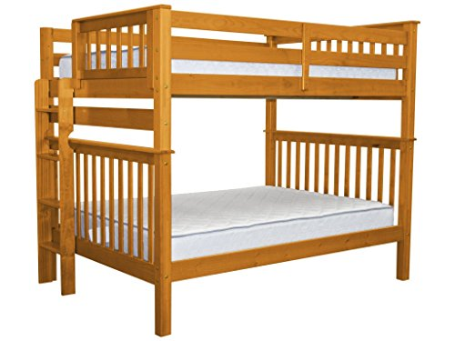 Bedz King Bunk Beds Full over Full Mission Style with End Ladder, Honey