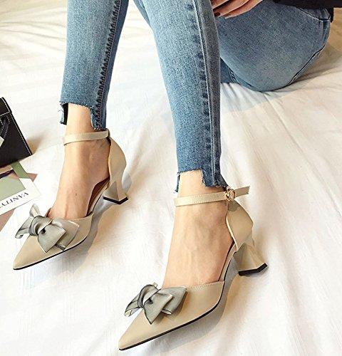 Sandalias Heeled Zapatos Muelle Palabras Match 36 All Zapatos Boca Zapatos Bow Albaricoque 38 Con Elegante Lady Señaló High MDRW Superficial De Trabajo 6Cm Gruesas Ocio IvUOTw8q