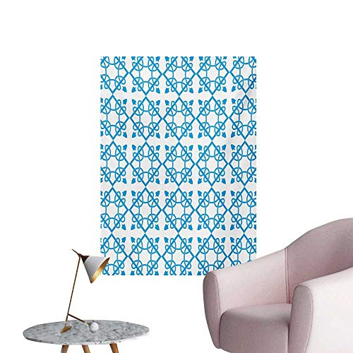 Irish Photographic Wallpaper Antique Tile with Delicate Royal Floral Details and Squares Baroque FlourishPale Blue White W20 xL28 Wall Poster ()