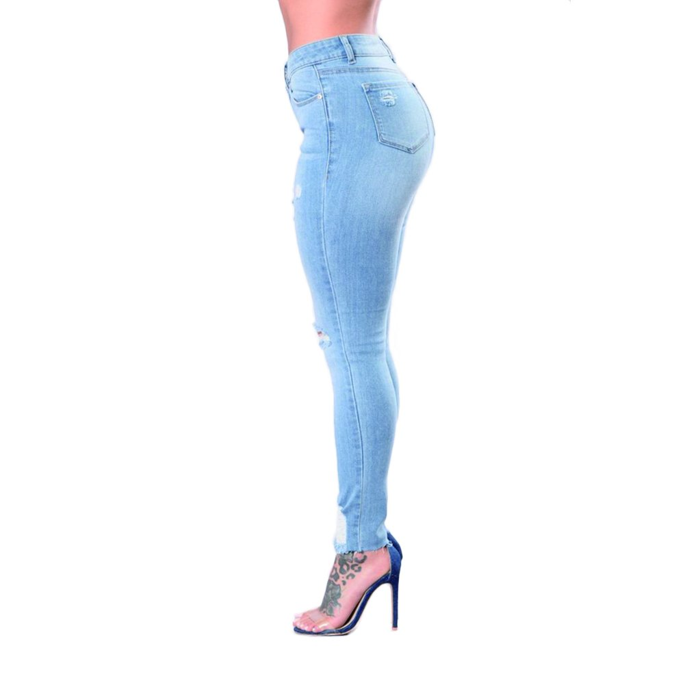 VICVIK Skinny Denim Sexy Hole Jeans for Women Flare Tron Stylish Rock Roll Elastic Jean Pants (L, Light Blue) by VICVIK (Image #3)