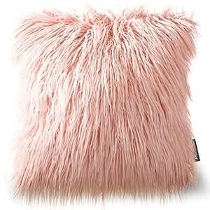 "PHANTOSCOPE Decorative New Luxury Series Merino Style Orange Fur Throw Pillow Case Cushion Cover 18""x18"" 45cmx45cm"