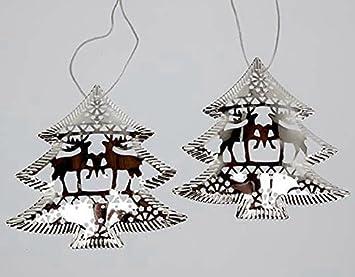 Christbaumkugeln Metall.24 Stk Metall Baum Silber Farben 9cm Baumbehang Metallbäume