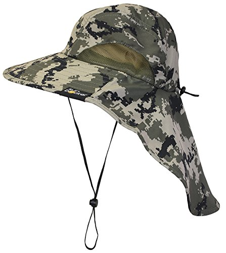 Sun Blocker Unisex Outdoor Sun Protection Fishing Cap Boonie Hat with Neck Flap Wide Brim for Safari Camping Hiking Hunting Boating and Outdoor Adventures, Digital Green