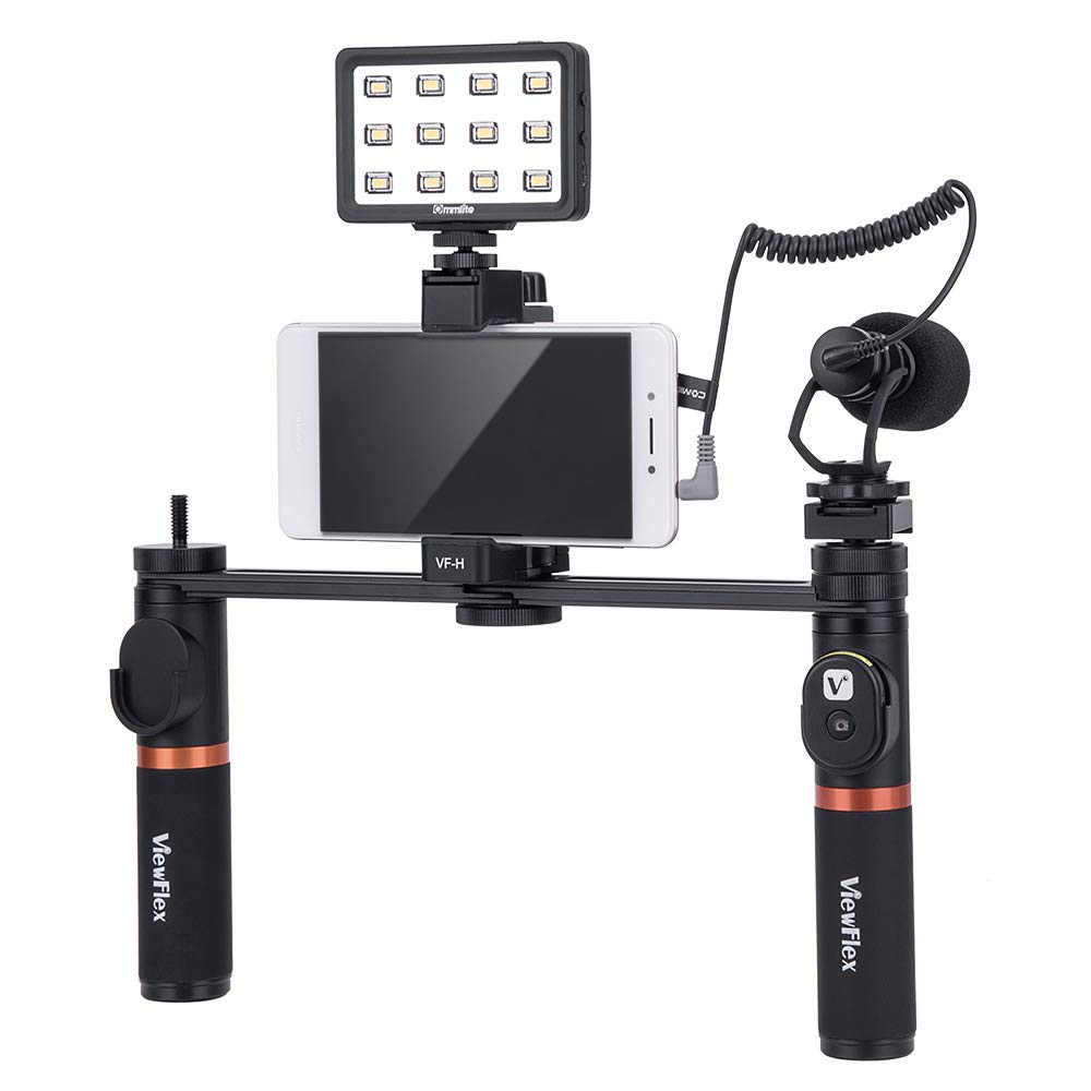 Viewflex Smartphone Video Kit VF-H7 Phone Video Rig Grip with Camera Microphone and LED Video Light for iPhone XR Xs Max 7 8 Plus 6,Samsung Galaxy,LG Cellphone Mic for Vlogging Recording by Viewflex