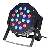 LED Par Lights,SOLMORE DMX-512 RGB 18 LED Stage Lights DJ Disco Light Projector Effect Light Sound Activated Background Stage Lighting for Wedding KTV Party Show Club Pub Bar Xmas Decoration 18W