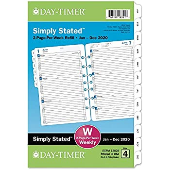 Amazon.com : Day-Timer 2020 Daily Planner Refill, One Page ...