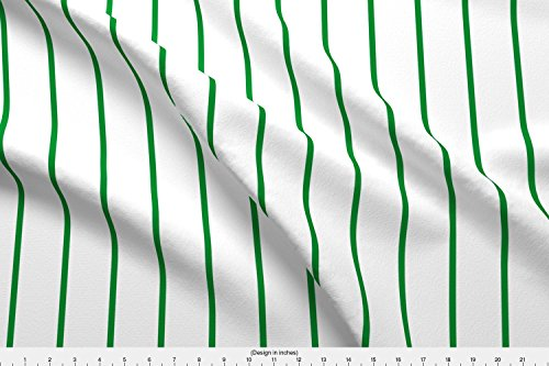 Sateen Oxford (Pinstripe Fabric Pin Stripe ~ Oxford ~ Landed Green On White by Peacoquettedesigns Printed on Organic Cotton Sateen Ultra Fabric by the Yard by Spoonflower)
