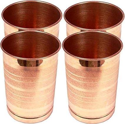 Royal Sapphire, juego de 4 vasos de cobre puro para agua ...