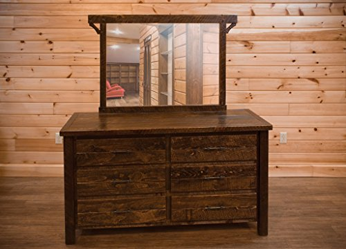 Barn Wood Style Timber Peg 6 Drawer Dresser with Mirror - Amish Made ()