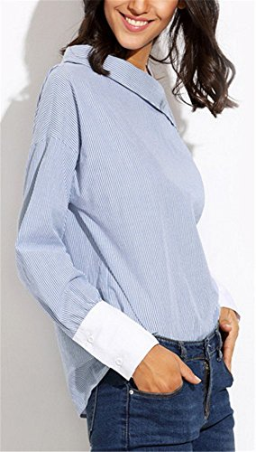 Blouse Rayures Manches Femme Casual Mode Chic Chemisier paule Bleu Sling Top Longues YOGLY Asymtrique wSnqzEwa