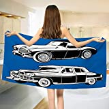 Chaneyhouse Cars,Bath Towel,Black and White Vintage Cars on Navy Blue Backdrop Classic Old Vehicles,Bathroom Towels,Navy Blue Black White Size: W 31.5'' x L 63''