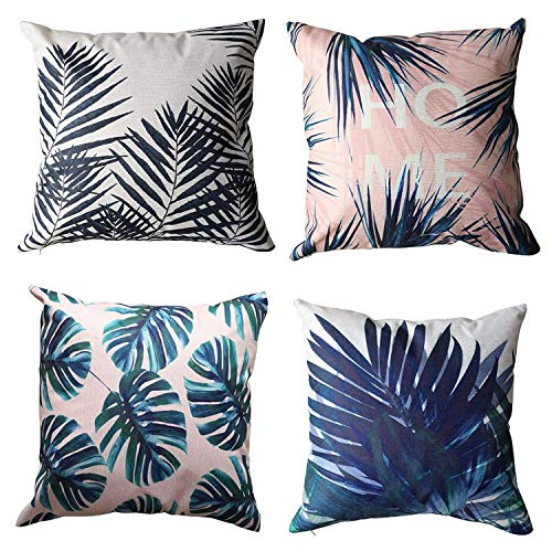 ALPHA HOME Decorative Throw Pillow Covers Set of 4 Cushion Covers - 18 x 18 inch (Leaf - 2)
