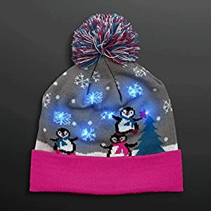 Multicolor LED Snowy Winter Christmas Holiday Penguins Beanie Hat by Blinkee from blinkee