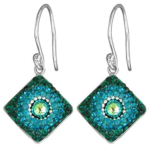 Green Dichroic Glass Earrings (Mosaico Sterling Silver Dichroic Glass and Preciosa Czech Crystals Square Dangle Earrings (Green and Teal))