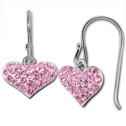 - Heart Crystal Dangle Earrings Sterling Silver 925 (E14410) (Pink)