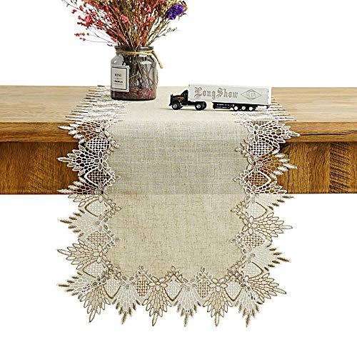 (Burlap Table Runner, Extra Long Size 108 inches x 16 inches, Decorative Tablecloth with Gold Crochet Lace Embroidery, Neutral Design For Rustic Boho Seasonal Wedding Resturaunt or Holiday Home Decor.)