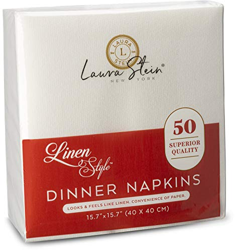 Laura Stein Linen Style White Dinner Napkins (50 Pack)   Disposable Napkins of, Soft Touch & High Absorbency   Napkins…