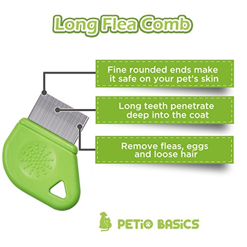 Pet Grooming Flea Comb by Petio Basics with 25mm Pins Removes Flea Eggs and Dirt from Long Hair by Petio Basics (Image #2)