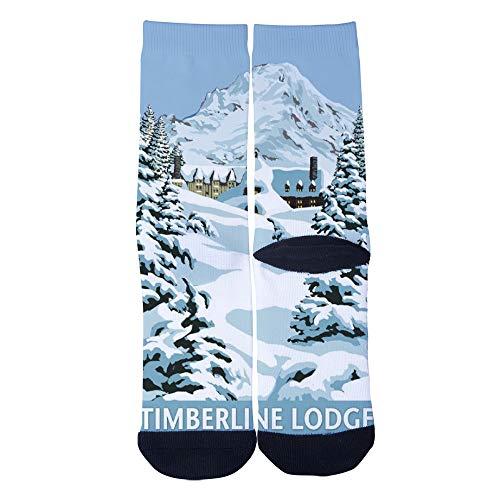 Customized Oregon Mt Hood Timberline Lodge Winter Socks Men's Women's Socks Unique Casual Crew Socks Black