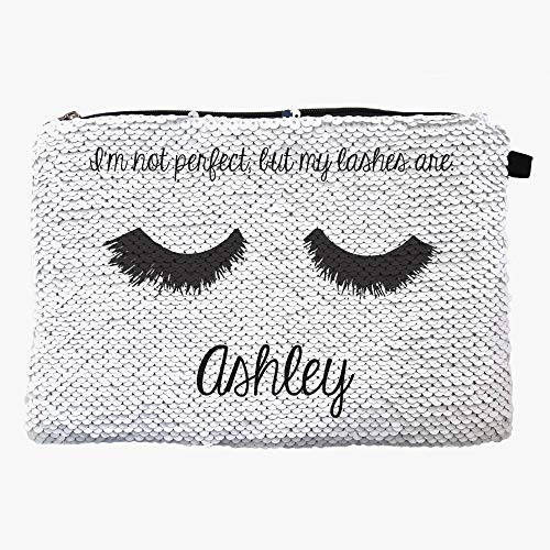 Perfect Lashes Custom Sequin Zippered Makeup Pouch Bag