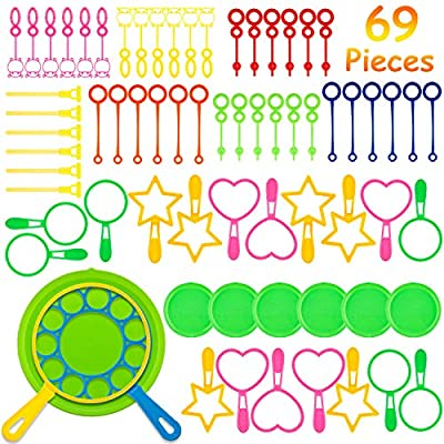 Zonon 69 Pieces Bubble Wands Toys Set Multihole Bubble Making Wand with Dipping Dish for Party Favor Summer Outdoor Activity Bath Toys: Toys & Games