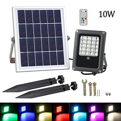 Solar LED Flood Light, T-SUNRISE 20 LEDs RGB Color Changing Outdoor Security Floodlight, IP65 Waterproof, Remote Control, Landscape Lighting Solar Spotlight for Decking Lighting, Patio Lighting