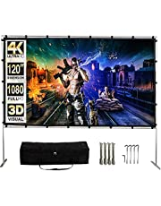 GYUEM Projector Screen with Stand,120 Inch (16:9) HD 4K Outdoor Indoor Portable Projection Screen Fast Folding Movie Screen with Stand Legs and Carry Bag Suit for Home Theater 3D Camping Meet