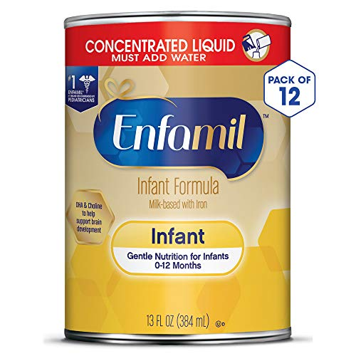 - Enfamil Gentle Baby Formula Concentrated Milk, 13 fluid ounce (Pack of 12) - Omega 3 DHA, Probiotics, Iron, Immune & Brain Support