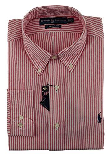 Ralph Lauren Men's Pony Logo Stripe Dress Shirt-Red-15.1/2-32-33
